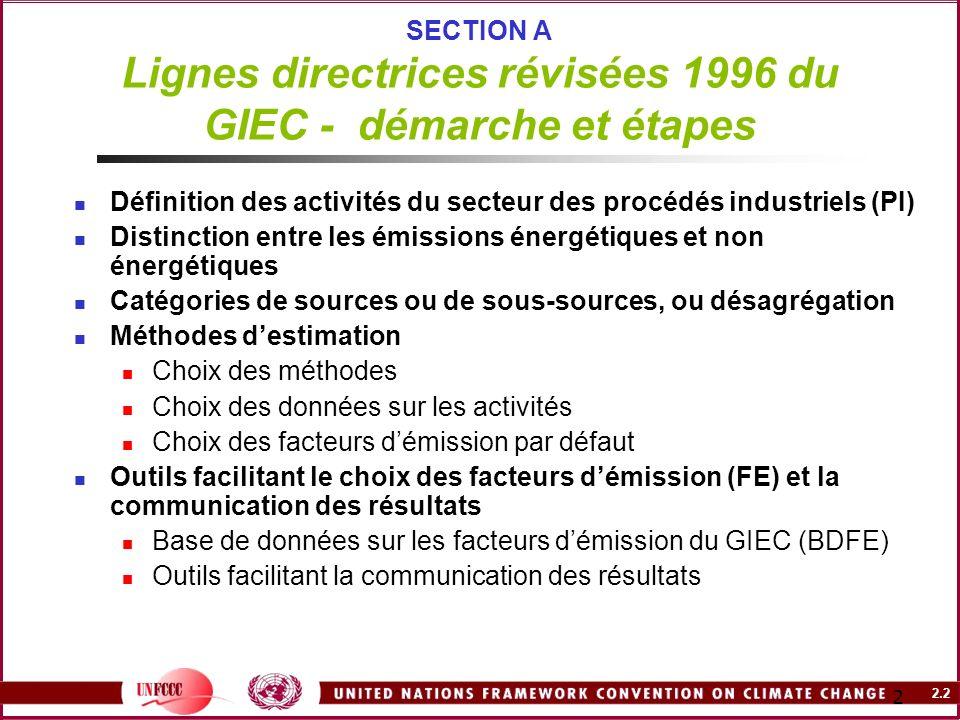 2.2 2 SECTION A Lignes directrices révisées 1996 du GIEC - démarche et étapes Définition des activités du secteur des procédés industriels (PI) Distin