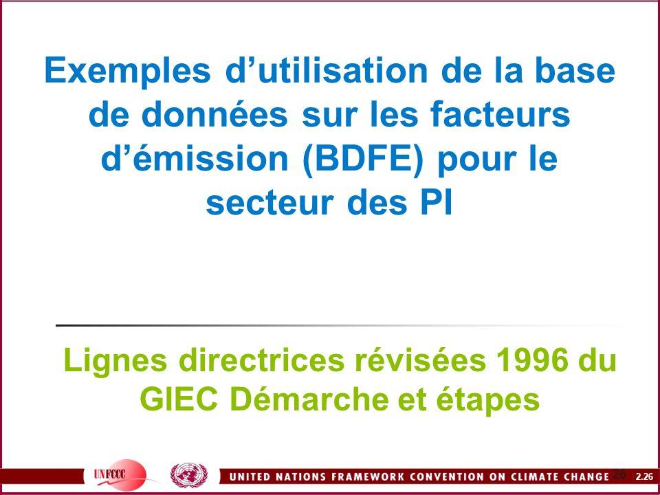 2.26 26 Exemples dutilisation de la base de données sur les facteurs démission (BDFE) pour le secteur des PI Lignes directrices révisées 1996 du GIEC