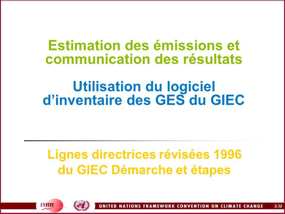 2.32 32 Estimation des émissions et communication des résultats Utilisation du logiciel dinventaire des GES du GIEC Lignes directrices révisées 1996 d