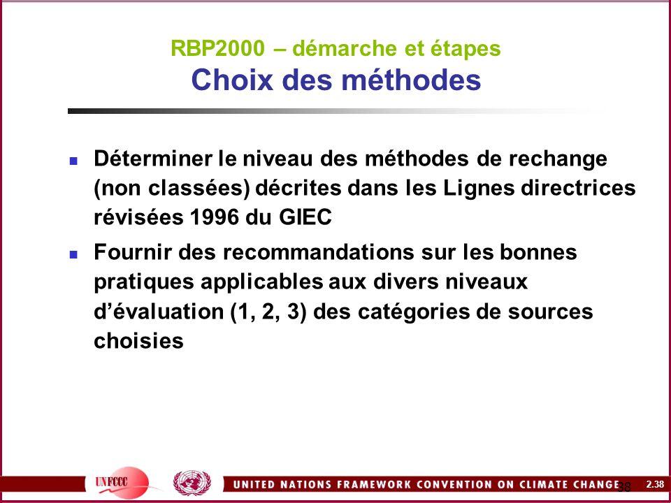 2.38 38 RBP2000 – démarche et étapes Choix des méthodes Déterminer le niveau des méthodes de rechange (non classées) décrites dans les Lignes directri