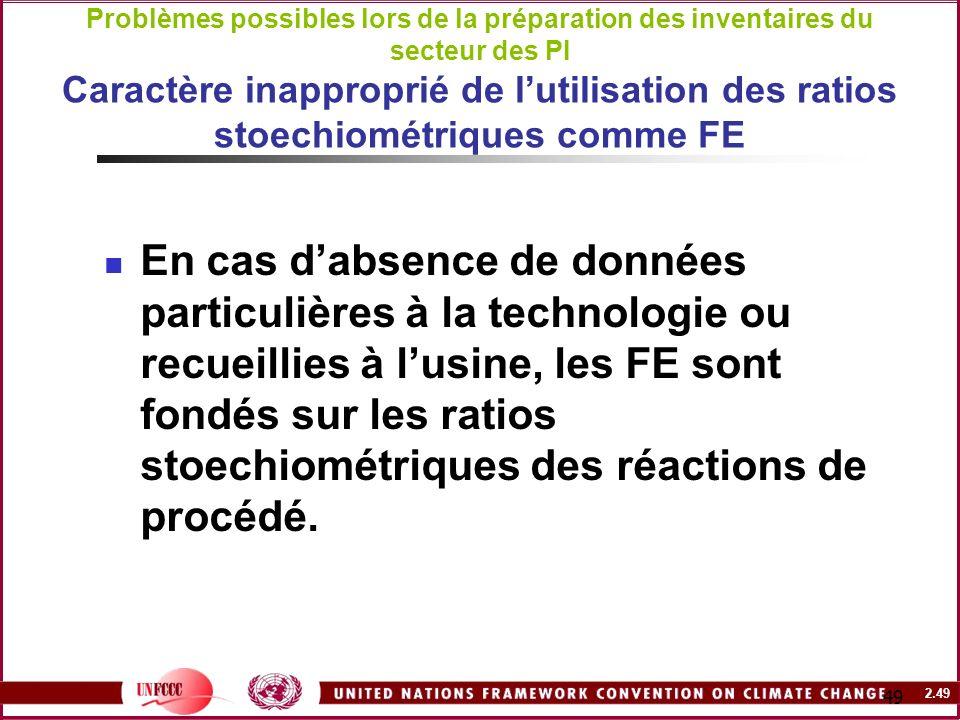 2.49 49 Problèmes possibles lors de la préparation des inventaires du secteur des PI Caractère inapproprié de lutilisation des ratios stoechiométrique
