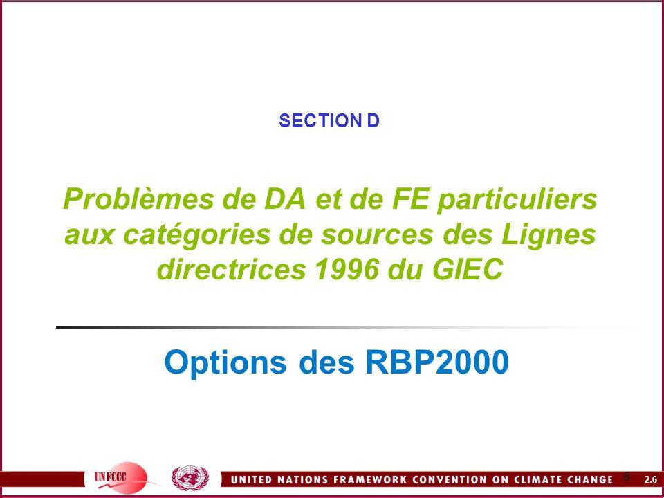 2.6 6 SECTION D Problèmes de DA et de FE particuliers aux catégories de sources des Lignes directrices 1996 du GIEC Options des RBP2000