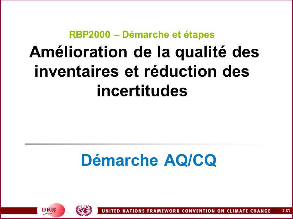 2.63 63 RBP2000 – Démarche et étapes Amélioration de la qualité des inventaires et réduction des incertitudes Démarche AQ/CQ