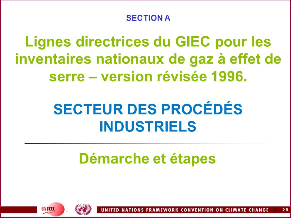 2.8 8 SECTION A Lignes directrices du GIEC pour les inventaires nationaux de gaz à effet de serre – version révisée 1996. SECTEUR DES PROCÉDÉS INDUSTR
