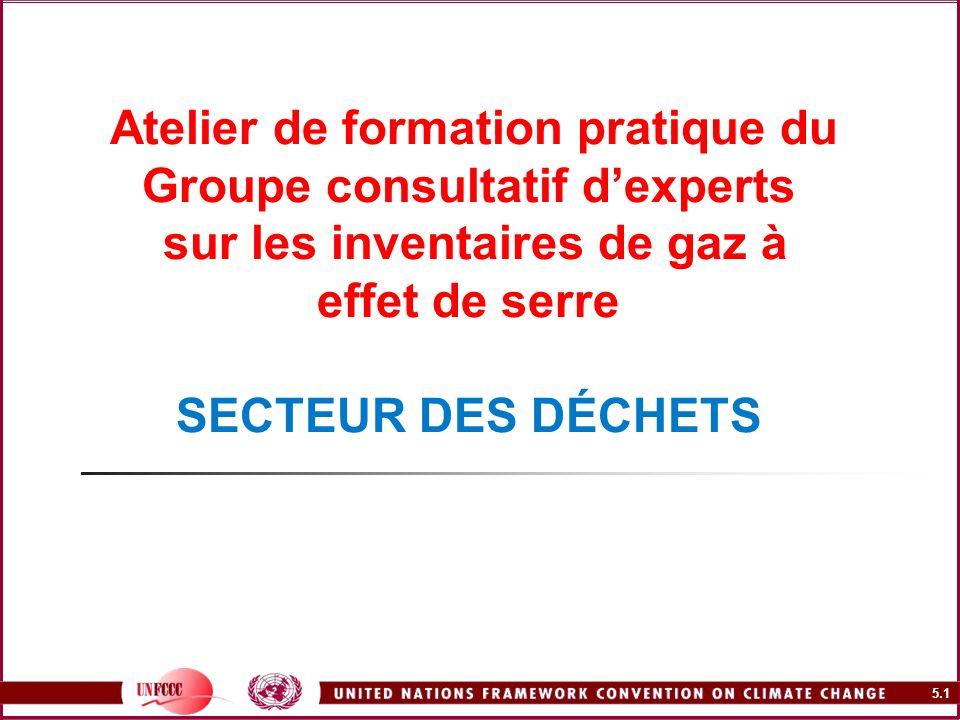 5.1 Atelier de formation pratique du Groupe consultatif dexperts sur les inventaires de gaz à effet de serre SECTEUR DES DÉCHETS