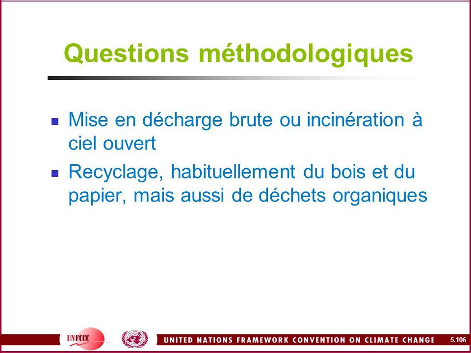 5.106 Questions méthodologiques Mise en décharge brute ou incinération à ciel ouvert Recyclage, habituellement du bois et du papier, mais aussi de déc