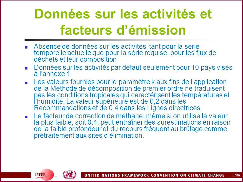 5.107 Données sur les activités et facteurs démission Absence de données sur les activités, tant pour la série temporelle actuelle que pour la série r