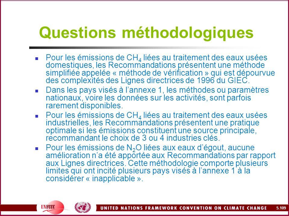 5.109 Questions méthodologiques Pour les émissions de CH 4 liées au traitement des eaux usées domestiques, les Recommandations présentent une méthode