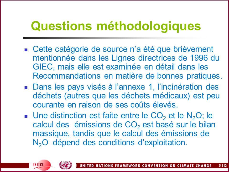 5.112 Questions méthodologiques Cette catégorie de source na été que brièvement mentionnée dans les Lignes directrices de 1996 du GIEC, mais elle est