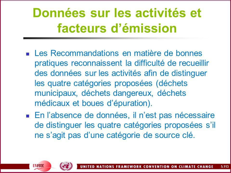 5.113 Données sur les activités et facteurs démission Les Recommandations en matière de bonnes pratiques reconnaissent la difficulté de recueillir des