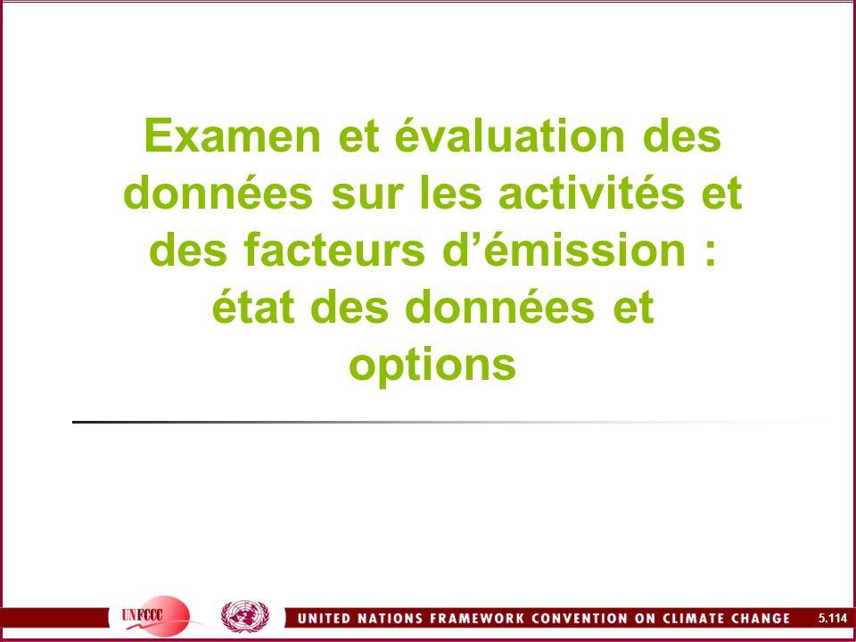 5.114 Examen et évaluation des données sur les activités et des facteurs démission : état des données et options