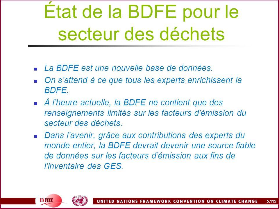 5.115 État de la BDFE pour le secteur des déchets La BDFE est une nouvelle base de données. On sattend à ce que tous les experts enrichissent la BDFE.
