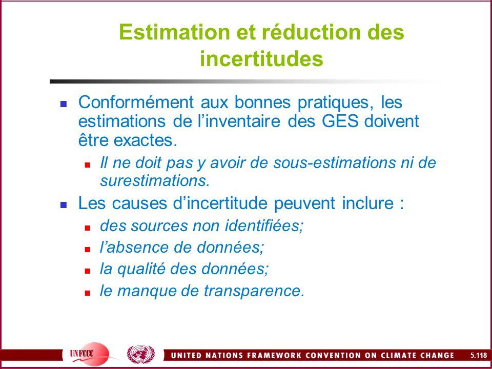 5.118 Estimation et réduction des incertitudes Conformément aux bonnes pratiques, les estimations de linventaire des GES doivent être exactes. Il ne d