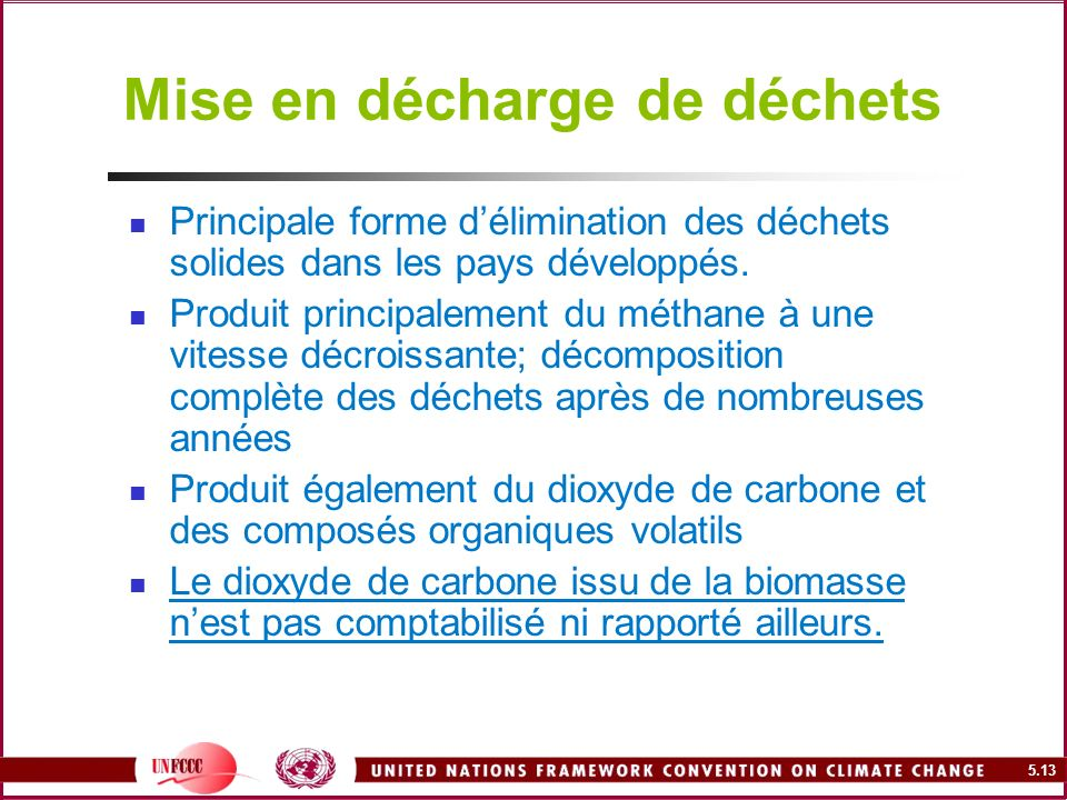 5.13 Mise en décharge de déchets Principale forme délimination des déchets solides dans les pays développés. Produit principalement du méthane à une v