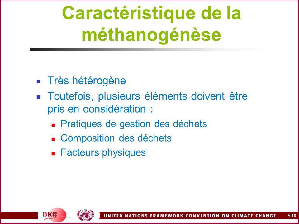 5.16 Caractéristique de la méthanogénèse Très hétérogène Toutefois, plusieurs éléments doivent être pris en considération : Pratiques de gestion des d