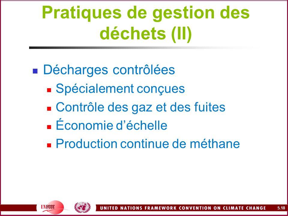 5.18 Pratiques de gestion des déchets (II) Décharges contrôlées Spécialement conçues Contrôle des gaz et des fuites Économie déchelle Production conti