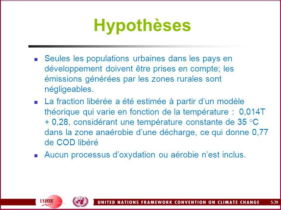 5.39 Hypothèses Seules les populations urbaines dans les pays en développement doivent être prises en compte; les émissions générées par les zones rur