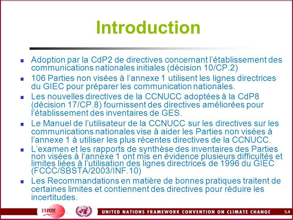 5.4 Introduction Adoption par la CdP2 de directives concernant létablissement des communications nationales initiales (décision 10/CP.2) 106 Parties n