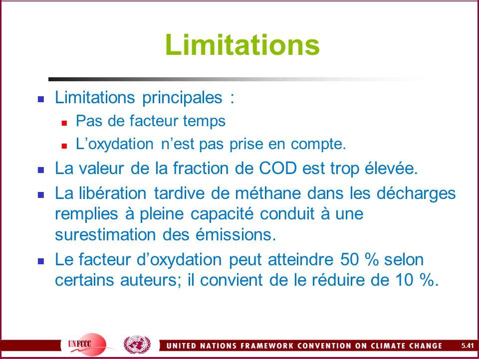 5.41 Limitations Limitations principales : Pas de facteur temps Loxydation nest pas prise en compte. La valeur de la fraction de COD est trop élevée.