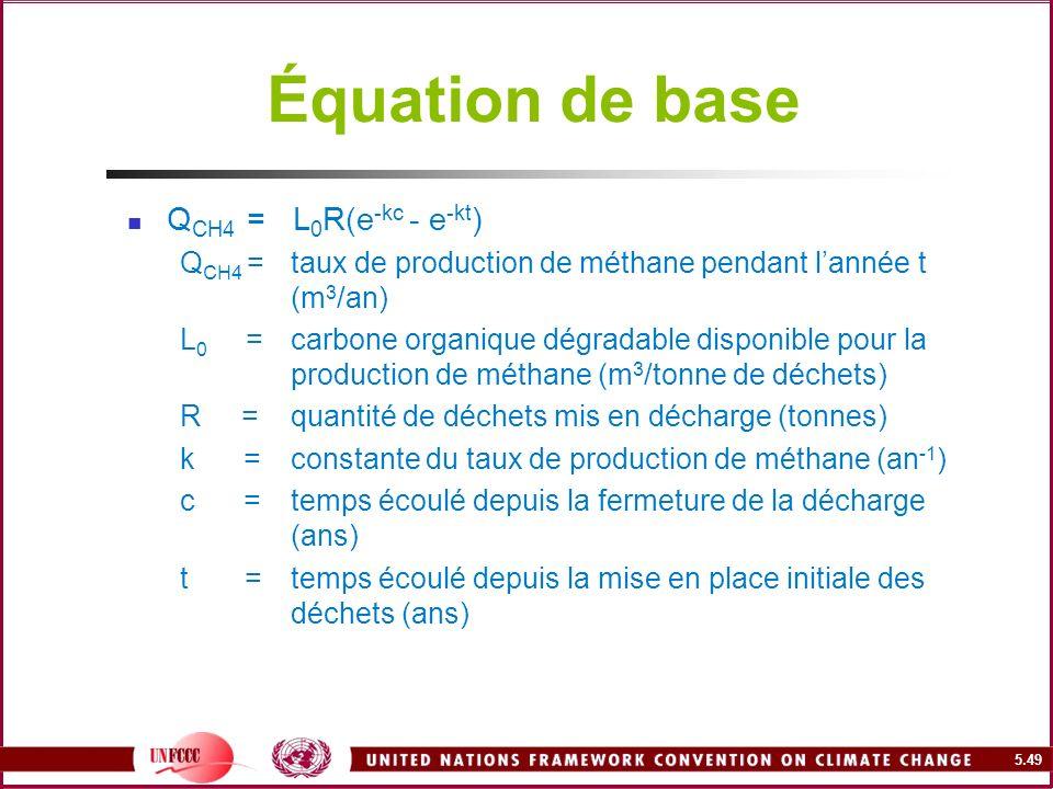 5.49 Équation de base Q CH4 = L 0 R(e -kc - e -kt ) Q CH4 =taux de production de méthane pendant lannée t (m 3 /an) L 0 =carbone organique dégradable