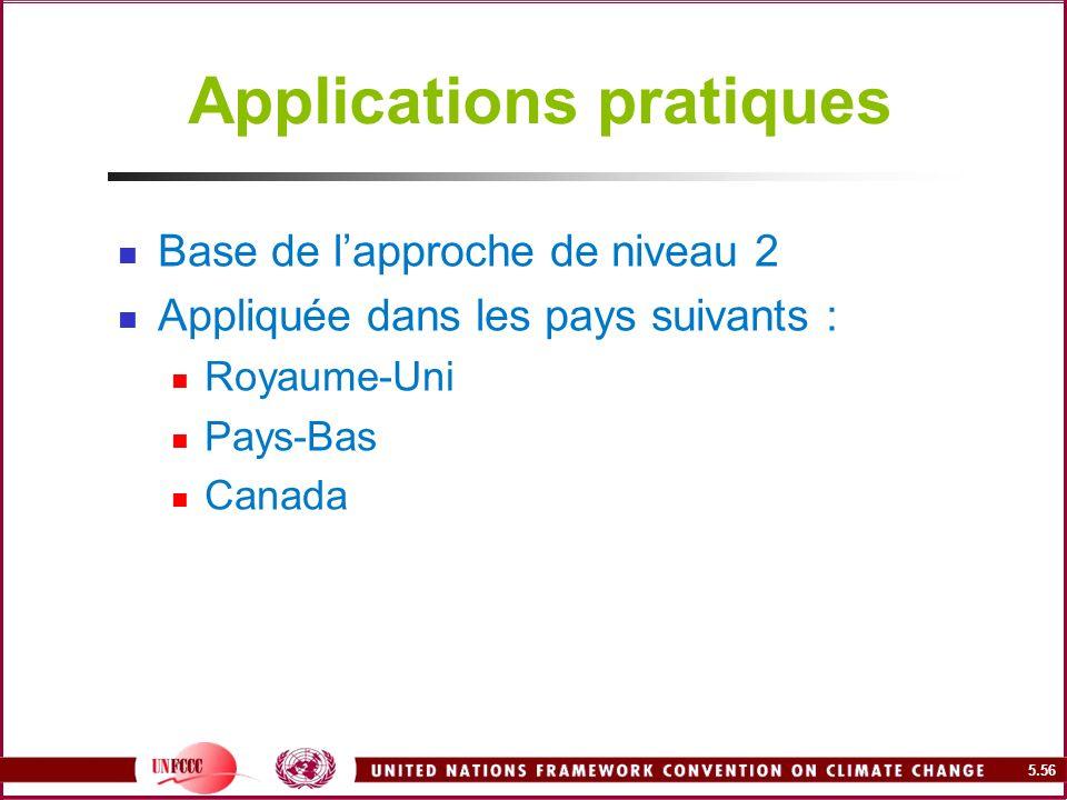 5.56 Applications pratiques Base de lapproche de niveau 2 Appliquée dans les pays suivants : Royaume-Uni Pays-Bas Canada