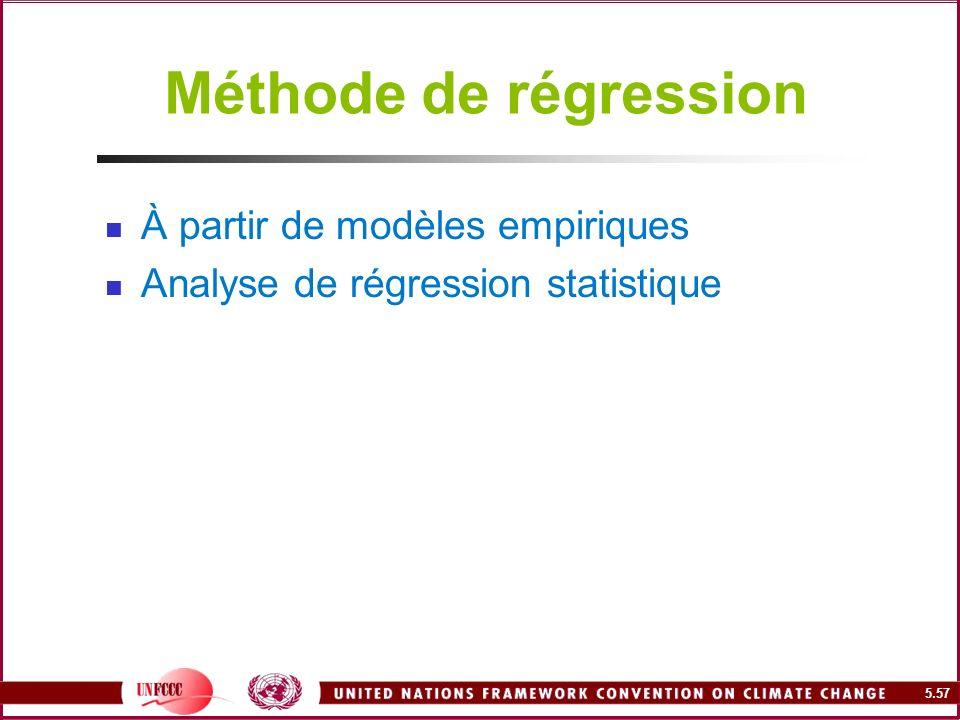 5.57 Méthode de régression À partir de modèles empiriques Analyse de régression statistique
