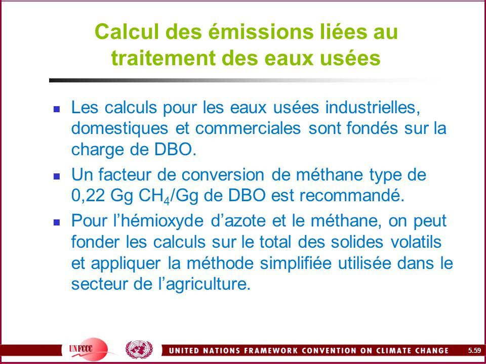 5.59 Calcul des émissions liées au traitement des eaux usées Les calculs pour les eaux usées industrielles, domestiques et commerciales sont fondés su
