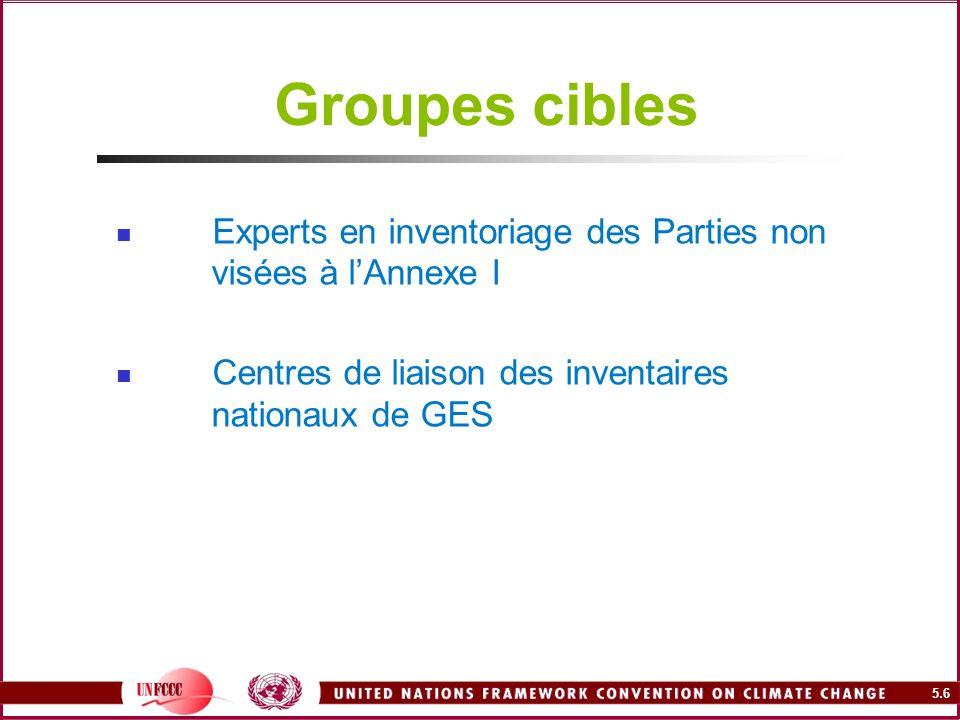 5.6 Groupes cibles Experts en inventoriage des Parties non visées à lAnnexe I Centres de liaison des inventaires nationaux de GES