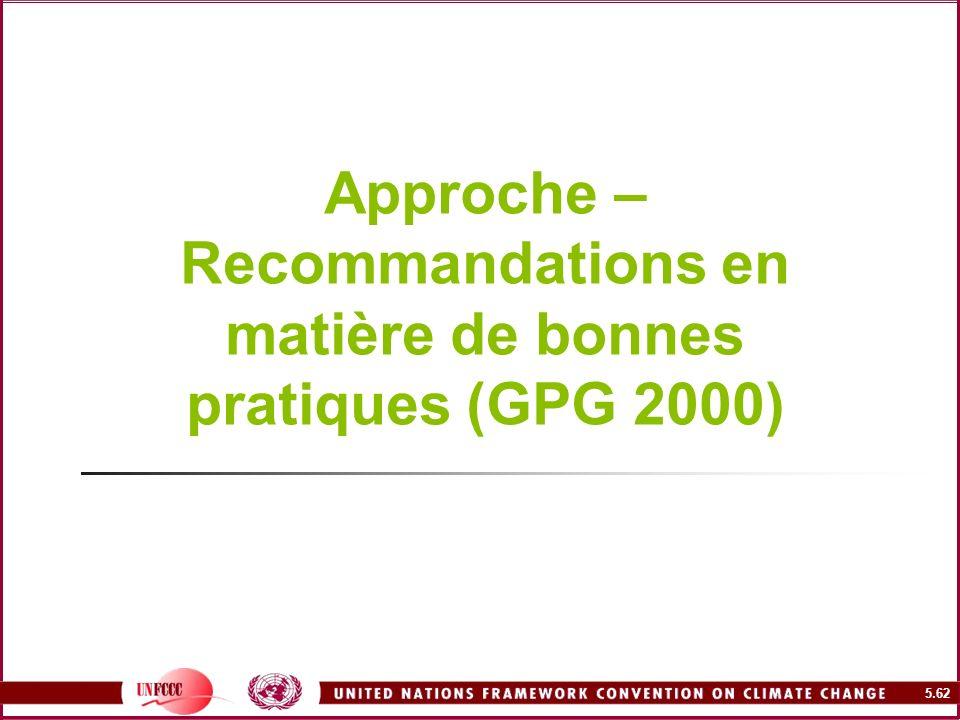 5.62 Approche – Recommandations en matière de bonnes pratiques (GPG 2000)