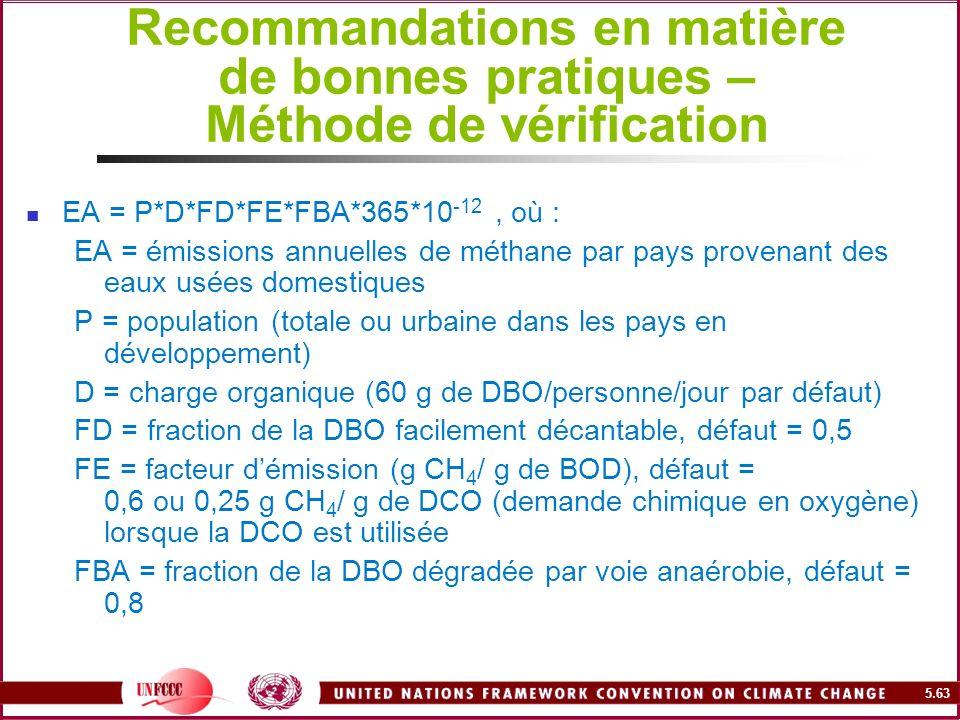5.63 Recommandations en matière de bonnes pratiques – Méthode de vérification EA = P*D*FD*FE*FBA*365*10 -12, où : EA = émissions annuelles de méthane