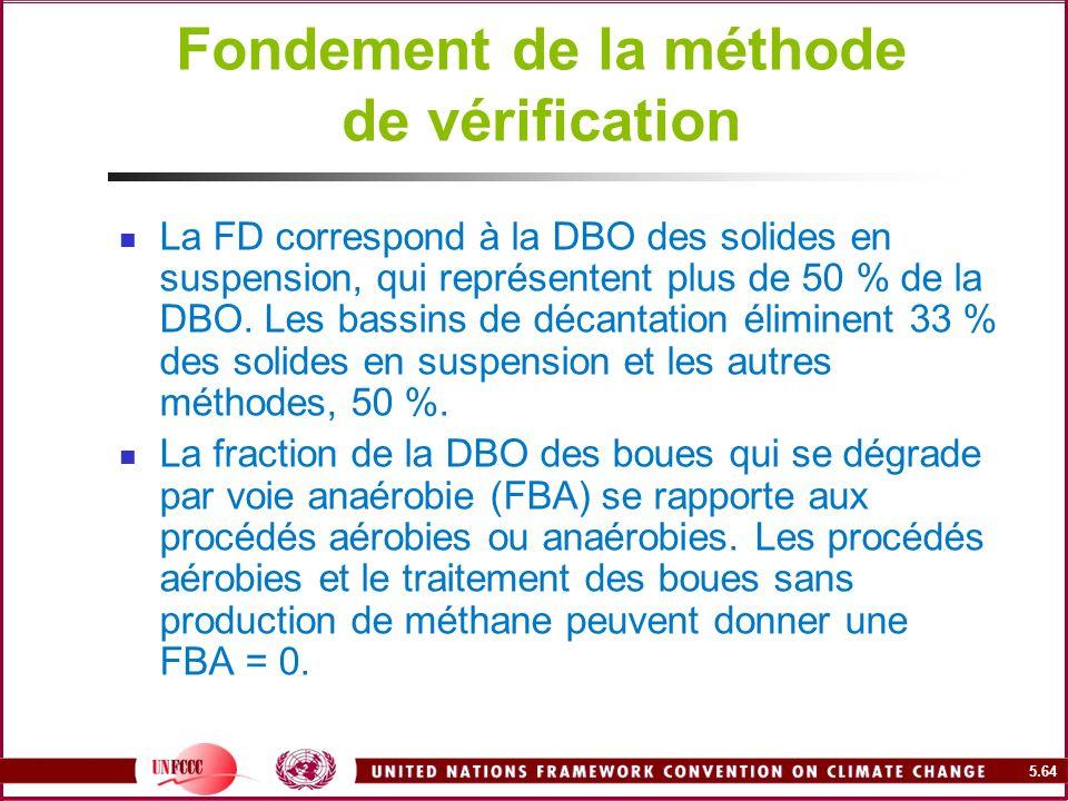 5.64 Fondement de la méthode de vérification La FD correspond à la DBO des solides en suspension, qui représentent plus de 50 % de la DBO. Les bassins