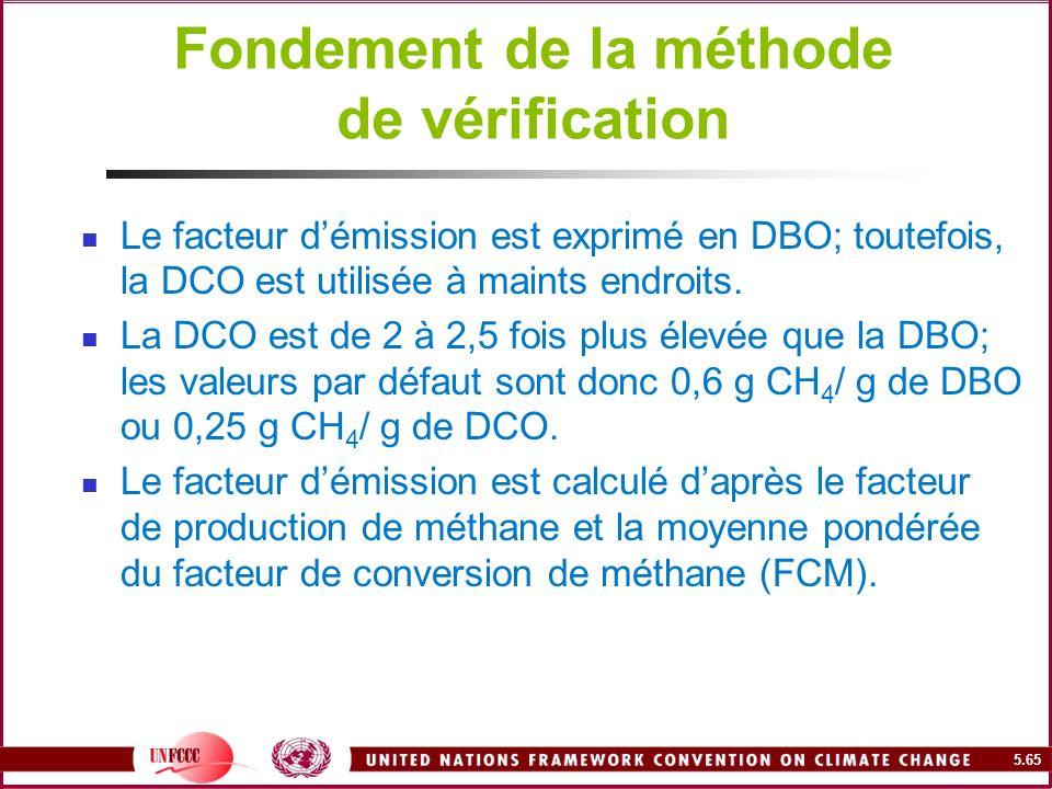 5.65 Fondement de la méthode de vérification Le facteur démission est exprimé en DBO; toutefois, la DCO est utilisée à maints endroits. La DCO est de
