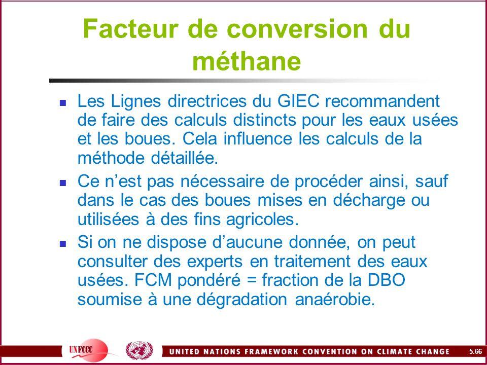 5.66 Facteur de conversion du méthane Les Lignes directrices du GIEC recommandent de faire des calculs distincts pour les eaux usées et les boues. Cel