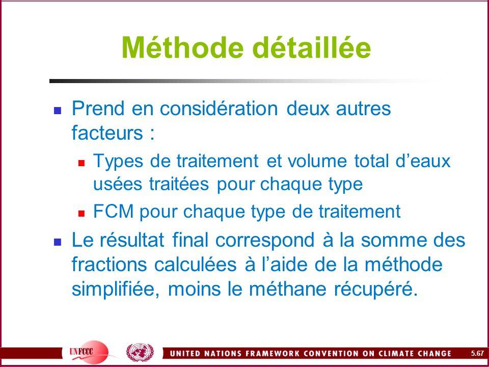 5.67 Méthode détaillée Prend en considération deux autres facteurs : Types de traitement et volume total deaux usées traitées pour chaque type FCM pou