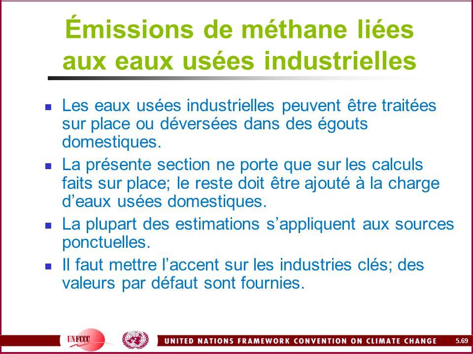 5.69 Émissions de méthane liées aux eaux usées industrielles Les eaux usées industrielles peuvent être traitées sur place ou déversées dans des égouts