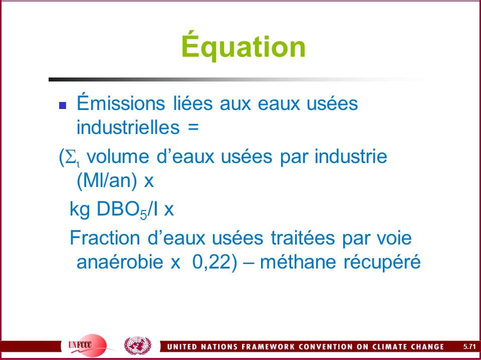5.71 Équation Émissions liées aux eaux usées industrielles = ( volume deaux usées par industrie (Ml/an) x kg DBO 5 /I x Fraction deaux usées traitées
