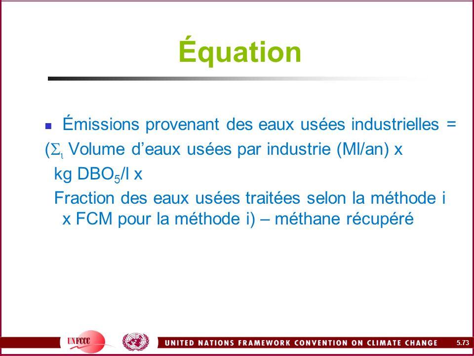 5.73 Équation Émissions provenant des eaux usées industrielles = ( Volume deaux usées par industrie (Ml/an) x kg DBO 5 /l x Fraction des eaux usées tr