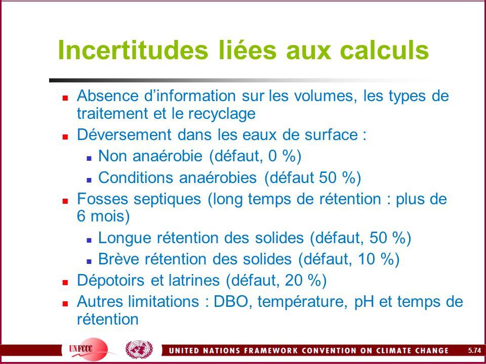 5.74 Incertitudes liées aux calculs Absence dinformation sur les volumes, les types de traitement et le recyclage Déversement dans les eaux de surface