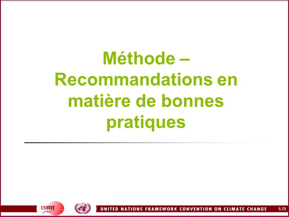 5.75 Méthode – Recommandations en matière de bonnes pratiques