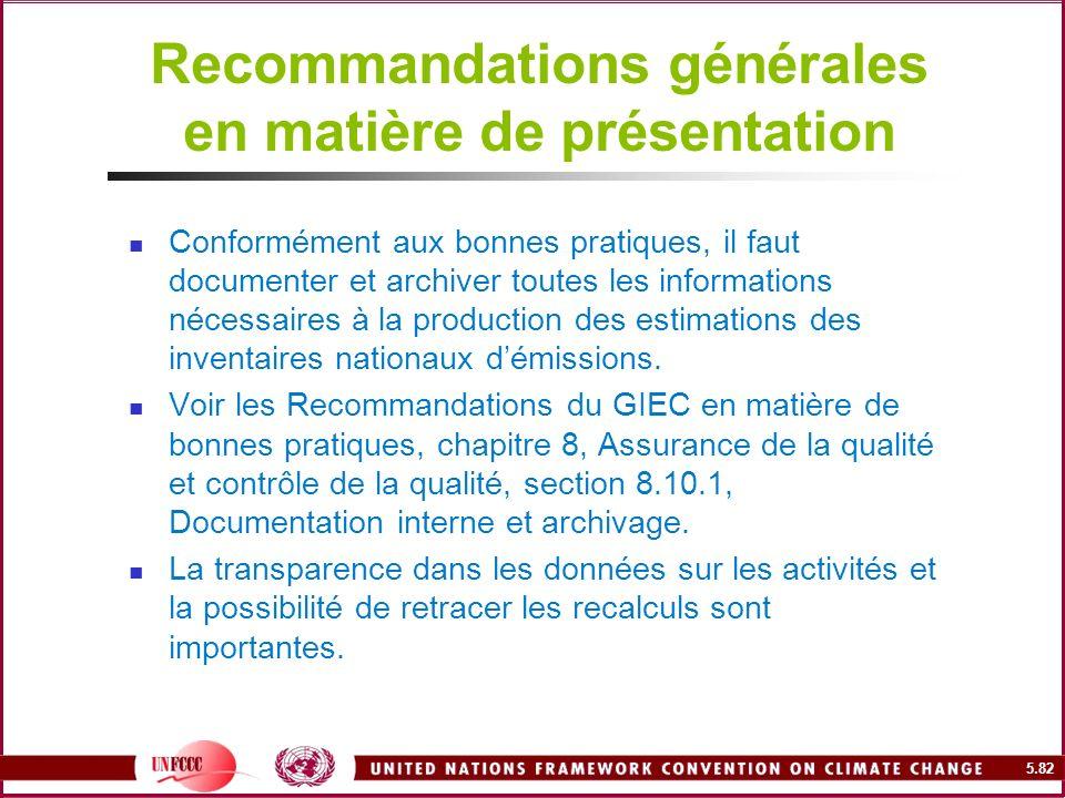 5.82 Recommandations générales en matière de présentation Conformément aux bonnes pratiques, il faut documenter et archiver toutes les informations né