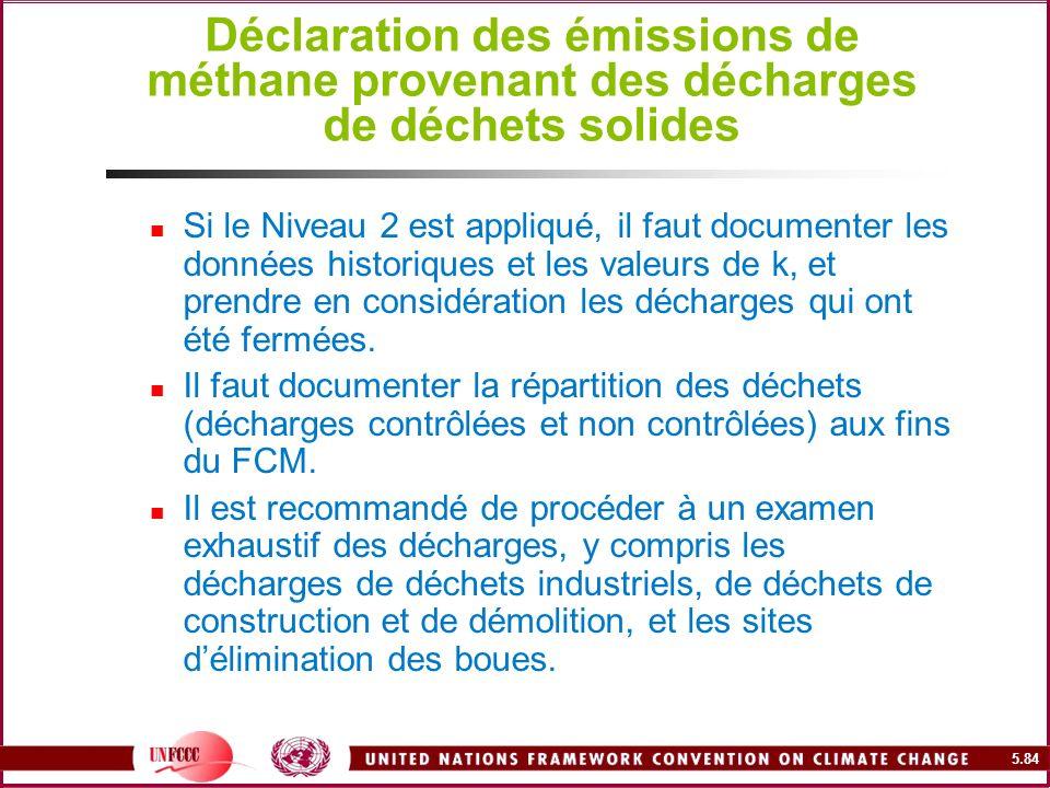 5.84 Déclaration des émissions de méthane provenant des décharges de déchets solides Si le Niveau 2 est appliqué, il faut documenter les données histo