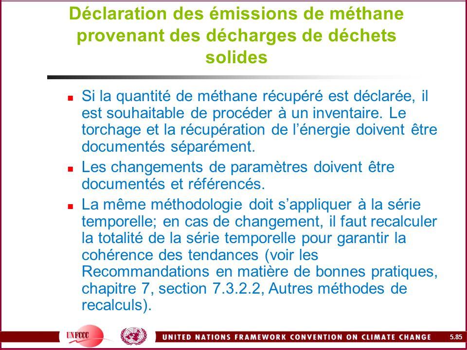 5.85 Déclaration des émissions de méthane provenant des décharges de déchets solides Si la quantité de méthane récupéré est déclarée, il est souhaitab