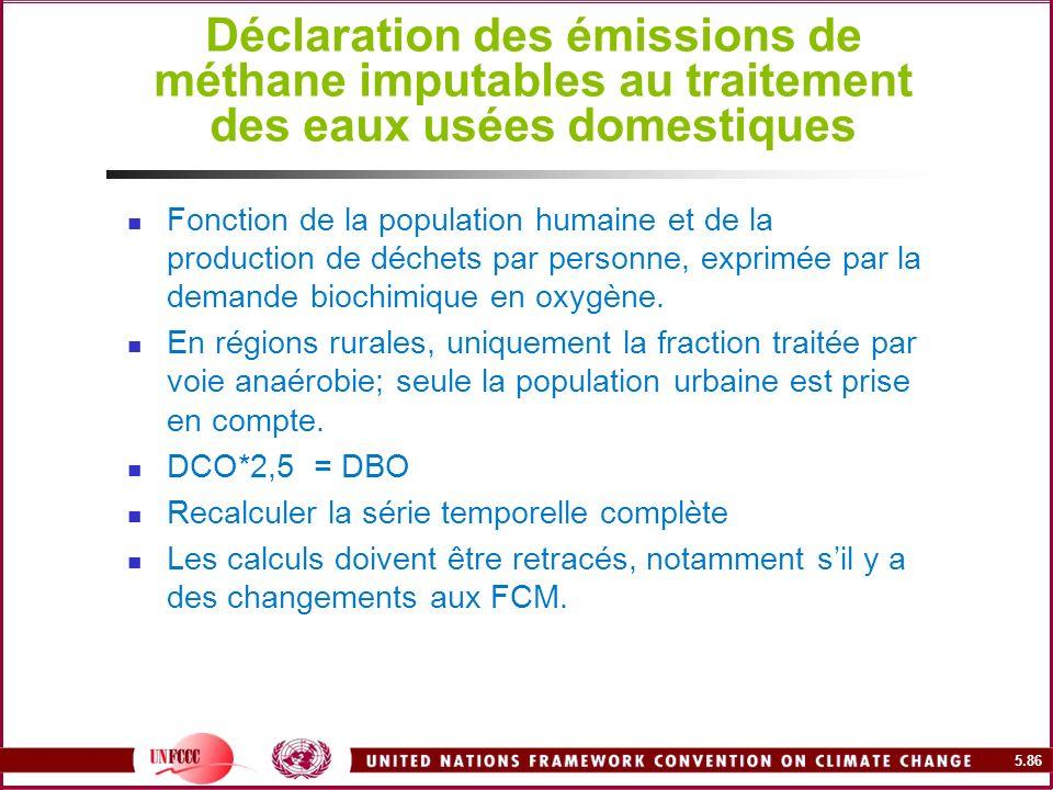 5.86 Déclaration des émissions de méthane imputables au traitement des eaux usées domestiques Fonction de la population humaine et de la production de