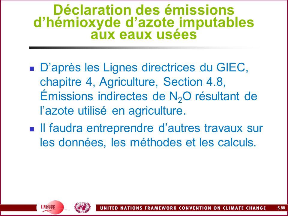 5.88 Déclaration des émissions dhémioxyde dazote imputables aux eaux usées Daprès les Lignes directrices du GIEC, chapitre 4, Agriculture, Section 4.8