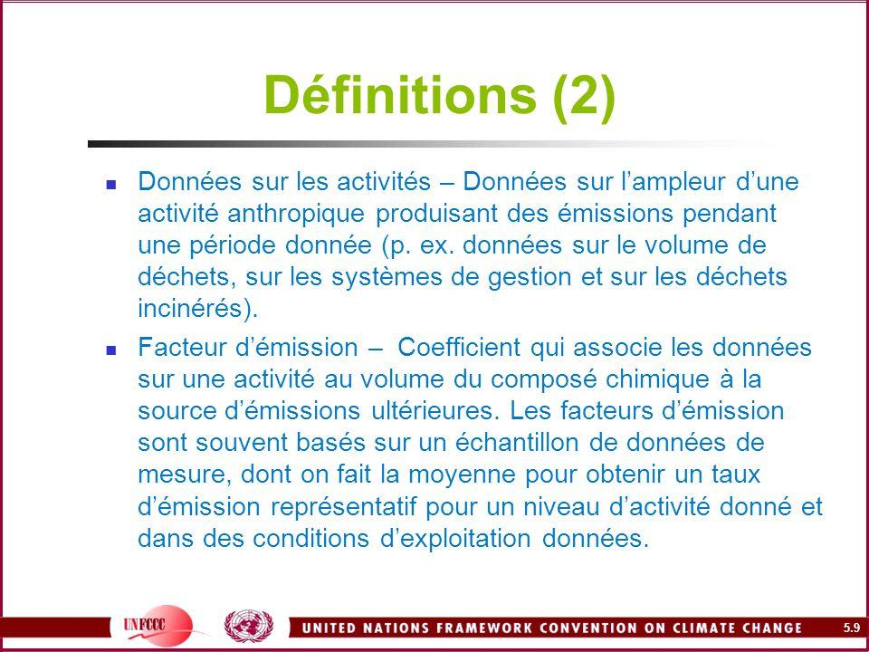 5.9 Définitions (2) Données sur les activités – Données sur lampleur dune activité anthropique produisant des émissions pendant une période donnée (p.