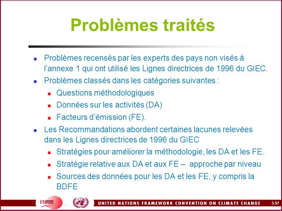 5.97 Problèmes traités Problèmes recensés par les experts des pays non visés à lannexe 1 qui ont utilisé les Lignes directrices de 1996 du GIEC. Probl