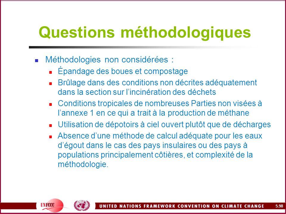 5.98 Questions méthodologiques Méthodologies non considérées : Épandage des boues et compostage Brûlage dans des conditions non décrites adéquatement