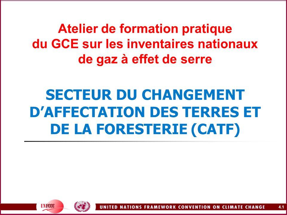 4.32 Notification relativement à linventaire des GES dans le secteur des CATF – LD1996 du GIEC Catégories CATFÉmissions de CO 2 Absorption de CO 2 CH 4 N2ON2OCONO x 5A.