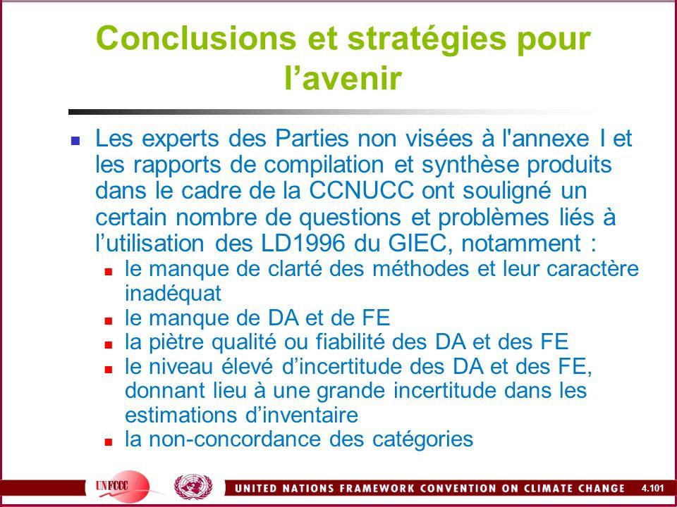 4.101 Conclusions et stratégies pour lavenir Les experts des Parties non visées à l'annexe I et les rapports de compilation et synthèse produits dans