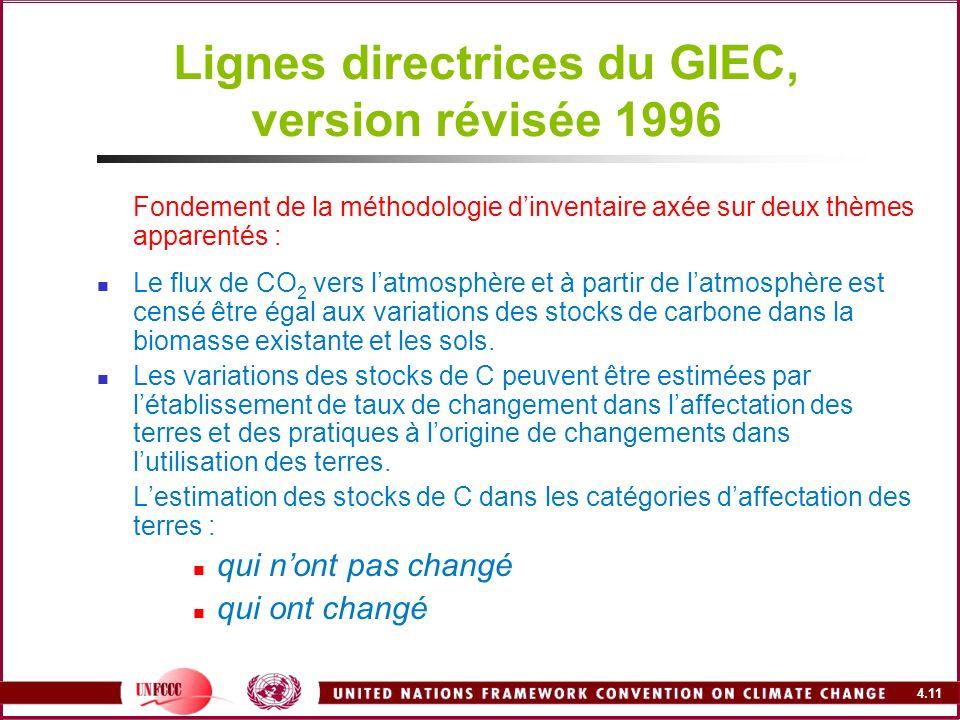 4.11 Lignes directrices du GIEC, version révisée 1996 Fondement de la méthodologie dinventaire axée sur deux thèmes apparentés : Le flux de CO 2 vers